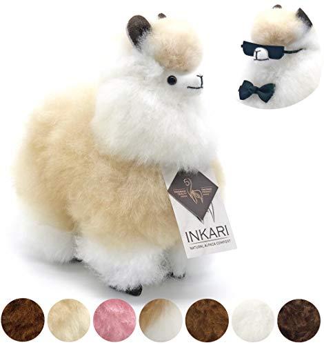 Alpaka Plüschtier aus echter Alpaka-Wolle, handgefertigte Unikate, fair und nachhaltig produziert, weiß und braun, großes Stofftier, hypoallergen (s (23cm), weiß/beige)