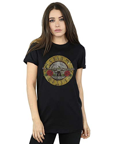Guns N Roses mujer Vintage Bullet Logo Camiseta Del Novio Fit Medium Negro