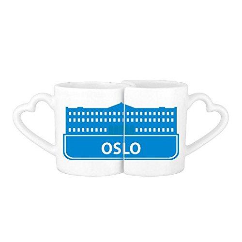 DIYthinker Oslo Noruega Landmark Azul Patrón De Los Amantes De La Cerámica Taza del Amante De Café Blanca Determinada De Cerámica Taza De La Leche Taza De Café con Manijas