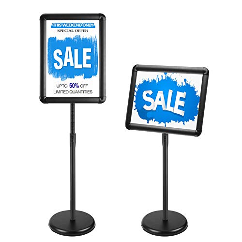 JIUYE Pedestal Poster Sign Stand,Adjustable Height Floor Standing Sign with 11x17