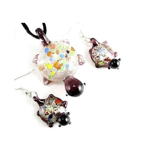 Juego de joyas de cristal soplado, estilo Murano, tortuga morada
