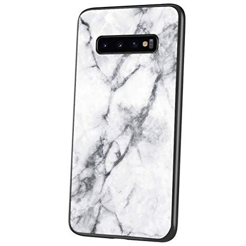QPOLLY Compatible avec Samsung Galaxy S10 Plus Coque, Brillante Marbre Motif Arrière en Verre Trempé Design Ultra Mince Souple TPU Silicone Bumper Antichoc Anti-Rayures Housse Etui de Protection,Blanc