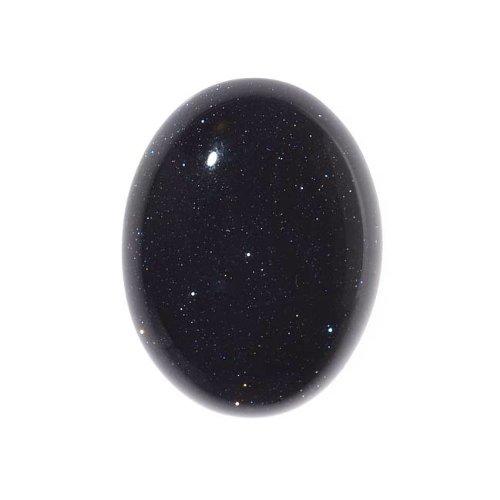 Beadaholique Blue Goldstone Gemstone Oval Flat-Back Cabochons 25x18mm (1...