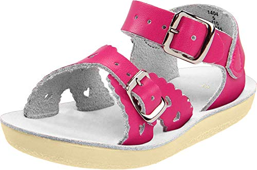 Salt Water Kid's Sweetheart Child Flat Sandals, Shiny Fuchsia, 9 M US Toddler