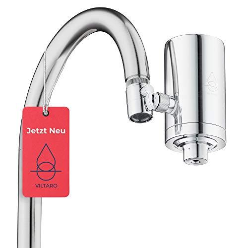 Viltaro Wasserfilter für Wasserhahn | Edelstahl | Leitungswasser filtern | Kalkfilter | Filter für Armatur | Trinkwasserfilter mit Kartusche aus nachhaltigem CoconutBlock