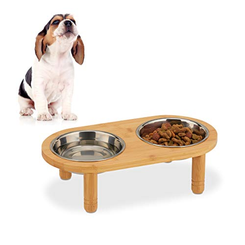 Relaxdays Feeding Station for Small Dogs, 2 Bowls, 300 ml, Raised, Bamboo, Stainless, HWD: 9.5x34.5x18cm, Natural/Silver