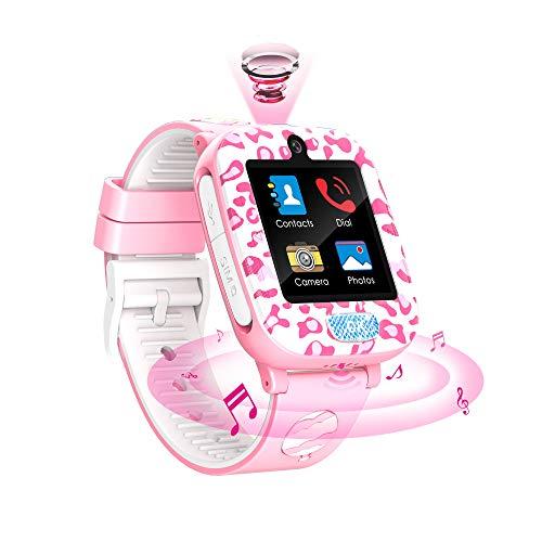 Fitonme Reloj Inteligente para niños,Reloj Inteligente Teléfono niños niñas con HD Pantalla táctil Música Cámara Juego Calculadora Smartwatch 3-12Y Regalos cumpleaños (Rosa)