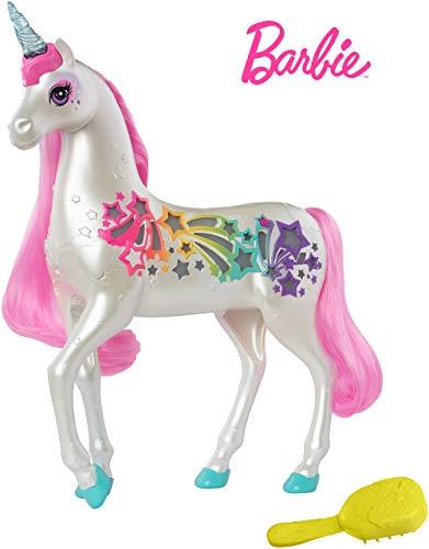 Barbie GFH60 - Dreamtopia Regenbogen Einhorn mit magischer Bürste für Musik und Lichter, ab 3 Jahren