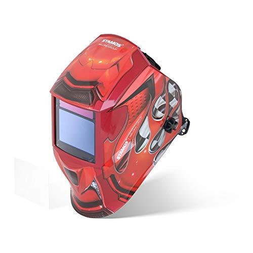 Stamos Welding Group Careta De Soldar Máscara De Soldadura RED RACE (Tiempo de respuesta 1/30.000s, 4 sensores, Protección luminosa: DIN 4-8, 9-13)