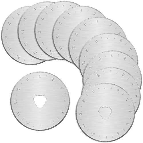 NATEE 10 Stück Ersatzklingen Rundklingen für Rollschneider/Rollmesser Stoffschneider Rundklingen-Cutter 45 mm für Patchwork Stoff Leder Handwerk Nähen Quilten