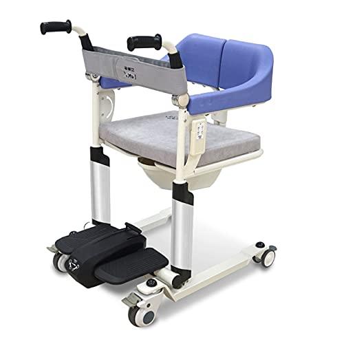 XJJY Silla baño con Inodoro para Ancianos discapacitados,Elevador Transferencia Pacientes Silla Ruedas Multifuncional,Silla de Ruedas enfermería para Ancianos,Mechanical Version