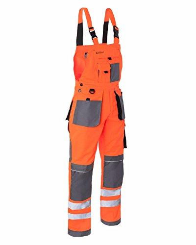 Arbeitslatzhose Arbeitshose Sicherheitshose Warnhose Latzhose Warnbekleidung 2 Farben (LH-FMNX-B) (48, orange)