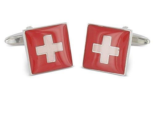 Teroon Manschettenknöpfe Flagge der Schweiz