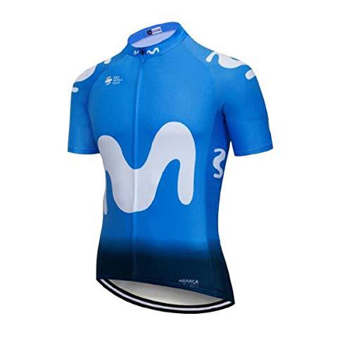 SUHINFE Maillot Ciclismo con Banda Elástica, 3 Bolsillos Traseros, Malla Transpirable y Cremallera Completa, M-LB, M