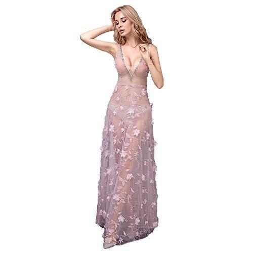 roroz Damen V-Ausschnitt RüCkenfrei Neckholder Abendkleider Sexy Cocktailkleider Lang Party Kleid Perspective Kleider, Pole Dance Sommer Rosa,Pink-XS