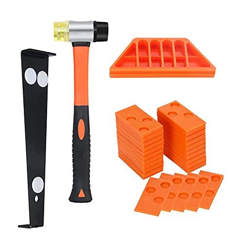 Kit di installazione per pavimenti in legno laminato con 40 distanziatori, battente a doppia testa, blocco di maschiatura e barra di trazione, colore: arancione