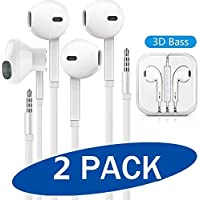 2-Pack iShowofficial Vize 3.5mm Wired Noise Isolating Headphones, Compatible with Samsung/iPhone/Android/MP3/MP4
