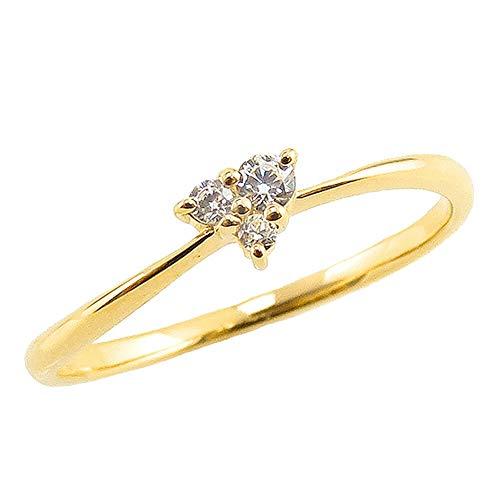 [ジュエリーアイ] ダイヤモンド リング イエローゴールドK10 10金 スリーストーン ハート トリロジー 3石 ピンキーリング 婚約指輪 指輪 5.5号
