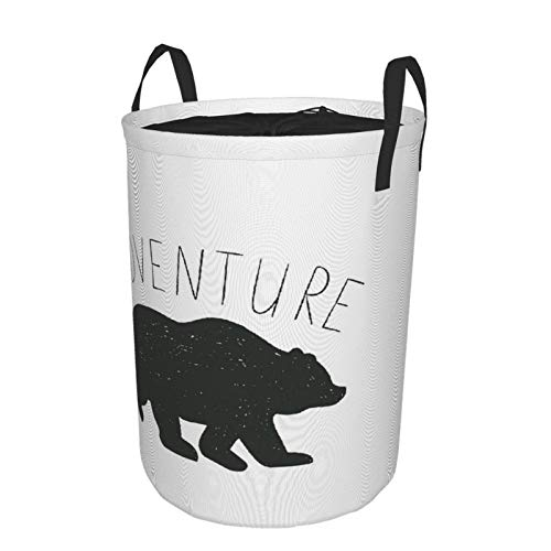 Collapsible Laundry Dirty Clothes HamperAdventure Black A Wild Bear Zoo Animal Nature Passion Hipster DesignLarge Capacity with Drawstring Storage Bin for Family Waterproof Home Decor165 x 216in