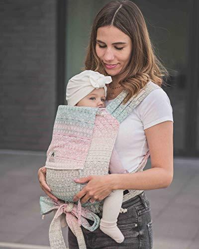 LIMAS Babytrage Halfbuckle | 50-86 cm | Bauchtrage & Rückentrage & Hüfttrage | ab Geburt bis Kleinkindalter | Baby Carrier | Didymos Prima Aurora