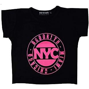 Kids Girls NYC Brooklyn Miami Chicago Print Crop Top T Shirt Age 7 8 9 10 11 12 13 Years:Comoparardefumar