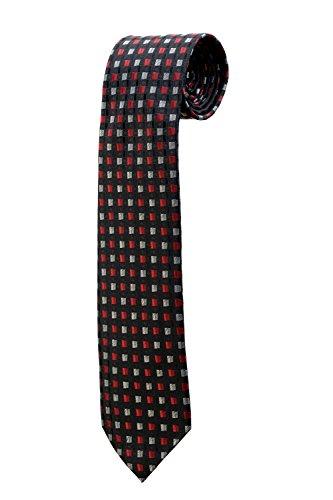 Cravate noire à motifs carrés gris rouge DESIGN costume homme mariage cérémonie