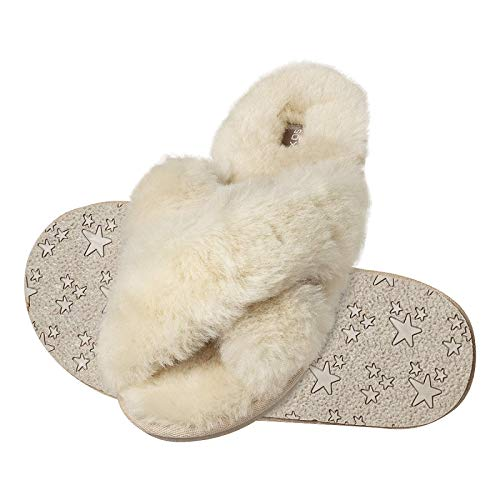 soxo Lammfell Hausschuhe Damen | Frauen Warme Fluffy Pantoffeln | Bequeme Fellhausschuhe in Rosa Farbe (2 Farbe), Beige, 35 / 36 EU