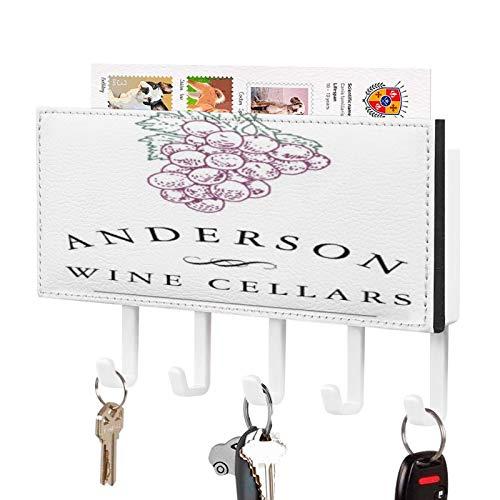 Soporte para llaves de pared para entrada de correo para pared con 5 llaves, bodega de vino personalizado, montaje en pared para cartas de correo y llaves organizador