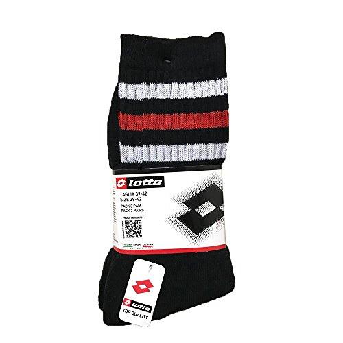 Lotto Lot de 3 paires de chaussettes courtes en coton pour homme/femme Noir avec rayures Taille 35-38