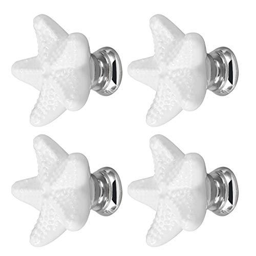 Yardwe - Set di 4 pomelli in ceramica per armadi, mobili e mobili in stile vintage, per arredi, mobili da cucina, decorazione marina Star Shaped (bianco)