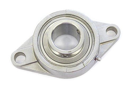 SS UCFL 204 Massiv Edelstahl Flanschlager mit Niro-Einsatz (rund; 2-Loch) / Bohrungsdurchmesser 20 mm Welle/Gehäuselagereinheit