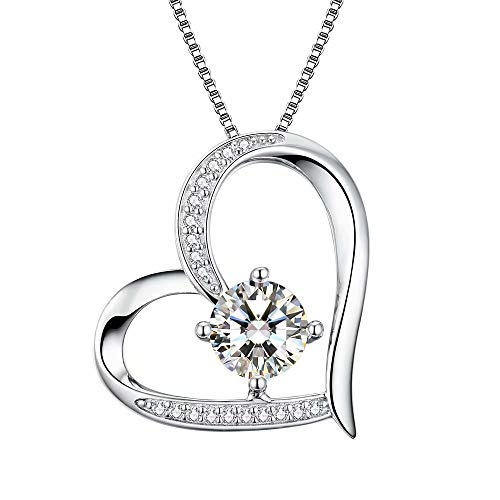 Heart Necklaces 5A Cubic Zirconia Jewellery Necklaces for Women 18k White Gold Plated Silver Necklace Gifts Jewelry for Women Mum Girls