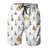 Mens Boy's Casual Novelty Beach Short Teepee Pattern Swimming Trunks