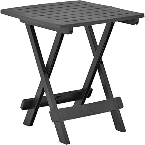 VTAMIN Mesa de café Plegable de Mesa de jardín pequeña Mesa de Comedor Diseño de resoplado para Patio Cubierta Blanco 45x43x50 cm de plástico (Color : Anthracite)
