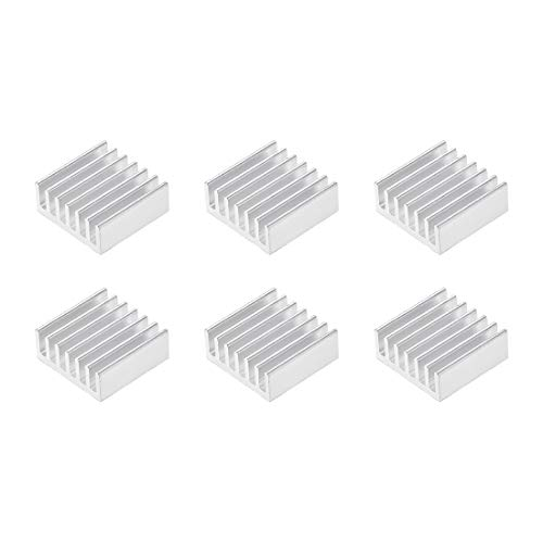sourcing map 6x14x14mm Silver Tone Aluminum Heatsink Thermal Adhesive Pad Cooler for Cooling 3D Printers 6Pcs