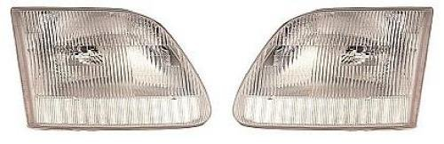 Go-Parts - PAIR/SET - for 1997 - 2004 Ford F-150 Front Headlights Assembly Front Housing / Lens / Cover - Left & Right (Driver & Passenger) Side - (Base Model + Harley-Davidson Edition + Lariat + XL