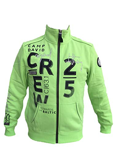 Camp David Herren Sweatjacke Baltic Sea II CCB-1907-3843 mit Stehkragen (M, Signal Green)