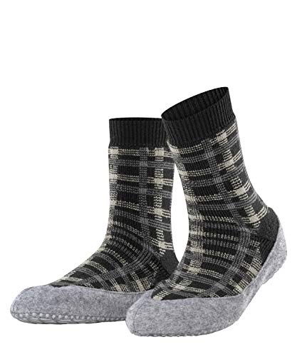 FALKE Damen Cosyshoe Checked W HP Hausschuh-Socken, Grau (Anthracite Melange 3082), 37-38
