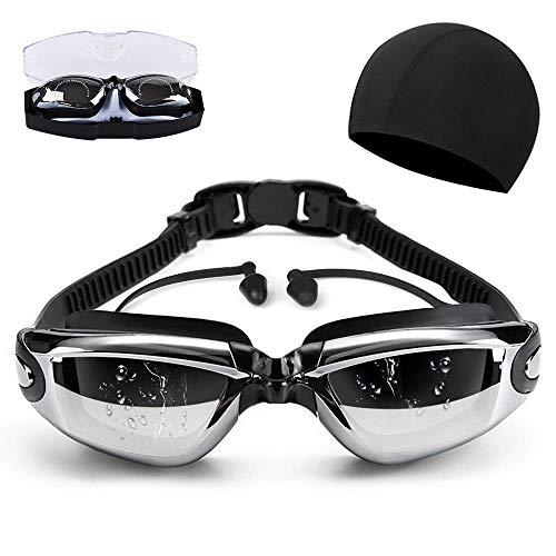 スイミングゴーグル 曇り止め 防水 3D人間工学設計 UVカット ベルト調節可 水着 スイムゴーグル 耳栓 付き 男女兼用… (Color2)