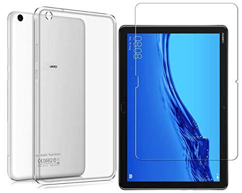 Domxteck (2 in 1 Pack Transparente TPU-Schutzhülle aus Silikon + 9H Bildschirmschutzfolie für Huawei MediaPad M5 Lite 10.0