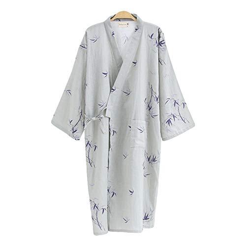 G-LIKE Japanischer Kimono Nachthemd Bademantel – Traditioneller Haori Yukata Stil 100% Baumwolle Frühling Sommer Hauskleid Saunamantel Leicht Dünn Nachtwäsche für Damen Herren (Grau-Herren, L)