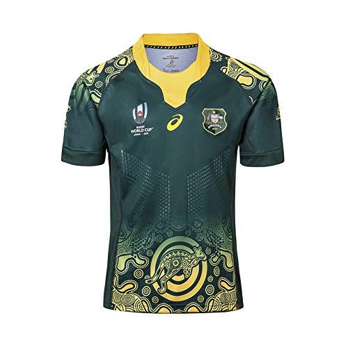 RENDONG 2019 Coppa del Mondo Australia a Casa E Fuori Casa Maglia da Rugby da Uomo,Verde,S