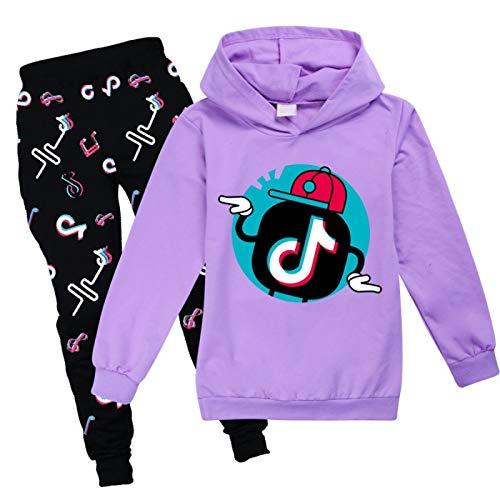 NIGHTMARE Jogginganzug für Damen und Herren TikTok Modepullover + Hose Mädchen Tik Tok Hoodies Hosen Set Cool Sweatshirt lila 150cm