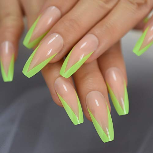 CoolNail Super Long Glossy Nude Pink Green French Smile Line Tips Shiny Ballerina Fake Art Nails Coffin Salon False Nails