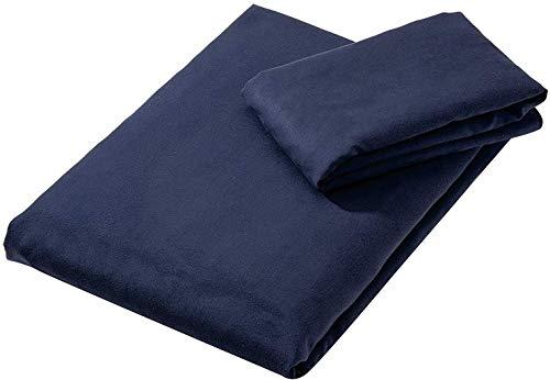 Amazon Basics Towels, Mikrofaser, Schwarz/Blau, 180 x 90 cm (Badetuch) 80 x 40 cm (Handtuch)