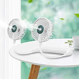 Lazy Hanging Neck Spray Fan USB Charging Outdoor Sports Portable Folding Mini Fan High Quality (Color : White)