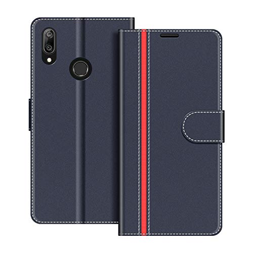 COODIO Handyhülle für Huawei Y7 2019 Handy Hülle, Huawei Y7 2019 Hülle Leder Handytasche für Huawei Y7 2019 Klapphülle Tasche, Dunkel Blau/Rot