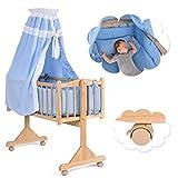 COSTWAY Stubenwagen Babywiege Schaukelwiege Babybett Holz Insekenschutz Matratze 3 Farben(Blau)