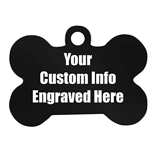 Hat Shark Custom Personalized 3D Laser Engraved Bone Shaped Pet ID Tag for Him, for Her, for Boys, for Girls, for Husband, for Wife, for Them, for Men, for Women, for Kids(Black)