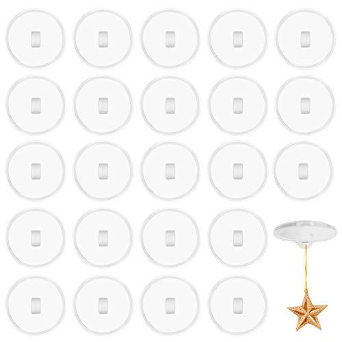 Crochet de Plafond Adhésif, 30 Pcs Crochet de Plafond Auto-Adhésif Transparents pour Accrocher des Décorations Lumineuses, Ventouse pour Crochet de Plafond Convient aux Murs Lisses